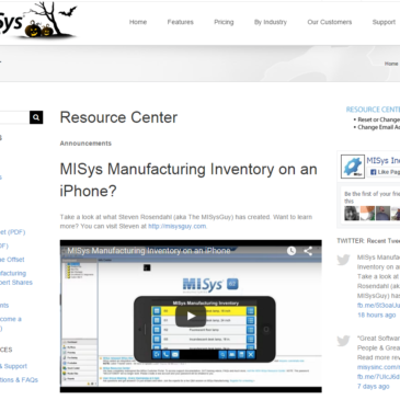 MISys Manufacturing has featured one of my iPhone apps on their website and Facebook page